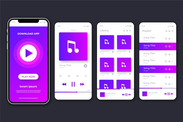 Music player app interfaces on phone screen