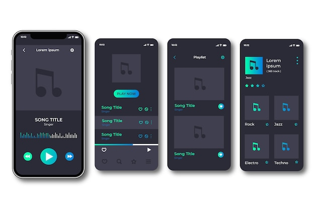 Music player app interfaces