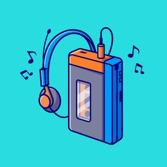 음악 플레이어 카세트 테이프 만화 벡터 아이콘 그림입니다. 기술 레크리에이션 아이콘 개념 절연 프리미엄 벡터입니다. 플랫 만화 스타일