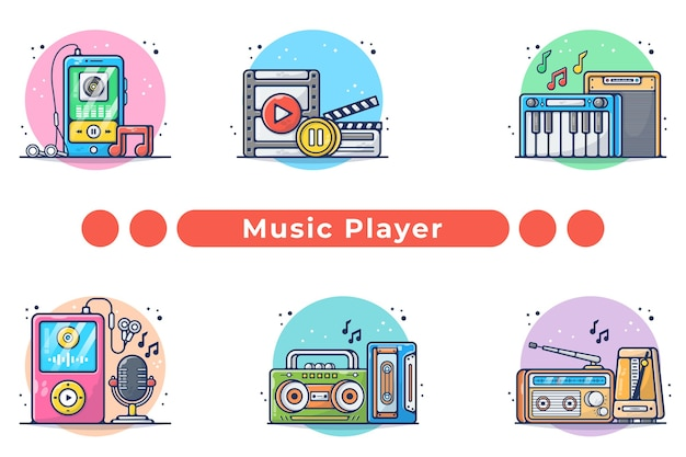 Music player collection illustration in hand drawn