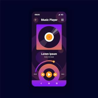 음악 플레이어 어두운 스마트폰 인터페이스 벡터 템플릿입니다. 모바일 앱 페이지 디자인 레이아웃입니다. 온라인 앨범에서 노래를 재생합니다. 스트리밍 재생 목록. 멀티미디어 화면입니다. 응용 프로그램에 대한 평면 ui. 전화 디스플레이