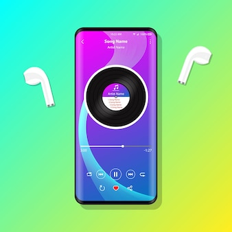 Music player interface on mobile phone earphones