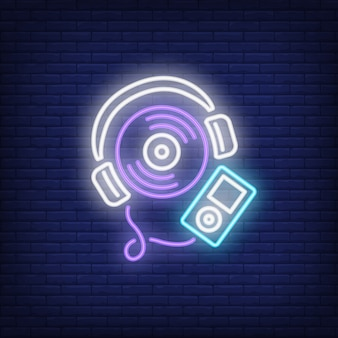 Music player neon sign