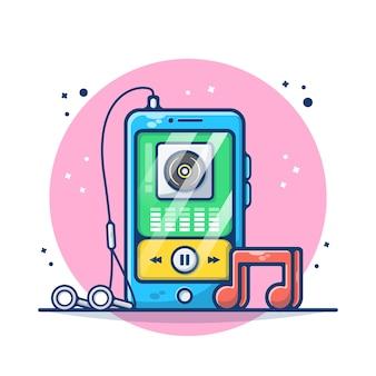 Музыкальный плеер на смартфоне, изолированные на белом фоне