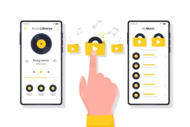 화면에 열린 음악 앱이 있는 뮤직 플레이어 플레이어 및 스마트폰