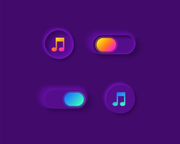 Music player switches ui elements kit