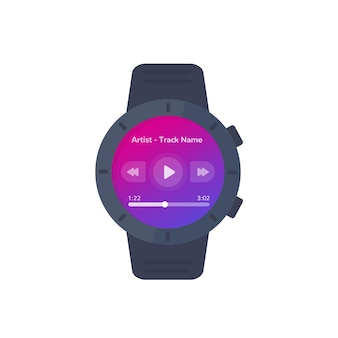 Music player ui for smart watch, vector interface design