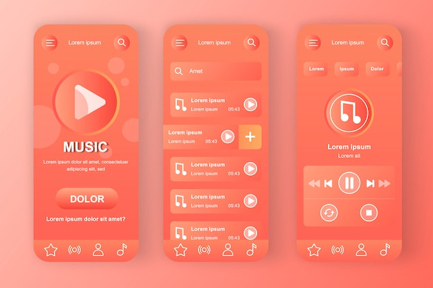 Music player unique coral red neomorphic  kit. favorite playlist with tracks, search music and audio streaming. online music app ui, ux template set. gui for responsive mobile application.