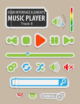 Music player user interface element in paper style