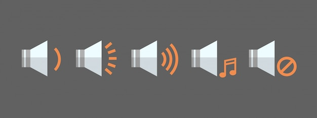 Music player volume icon set audio listening app interface button