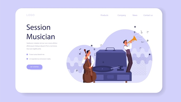 Music players performing concert with cello and trumpet web landing page. musicians and vinyl player. session musician playing melody. isolated vector illustration