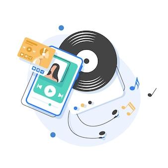 Музыка играет и слушает, плоский дизайн иллюстрация