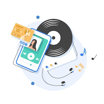 Music playing and listening,flat design   illustration