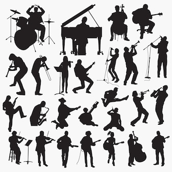 Music playing silhouettes