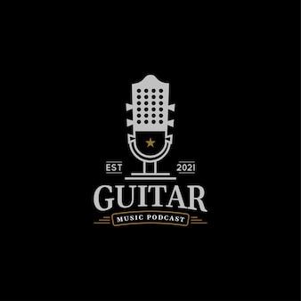 音楽ポッドキャストのロゴデザインコンセプトギターのイラスト