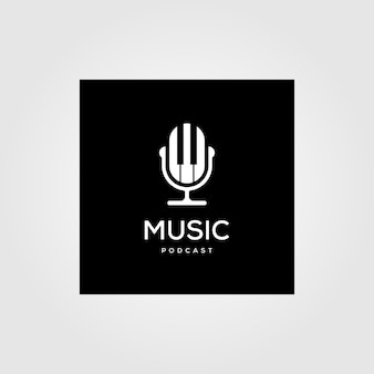Дизайн иллюстрации значка логотипа радио подкаста музыки