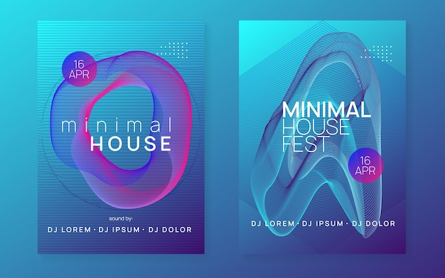 Music poster. bright concert brochure set. dynamic fluid shape and line. neon music poster. electro dance dj. electronic sound fest. club event flyer. techno trance party.