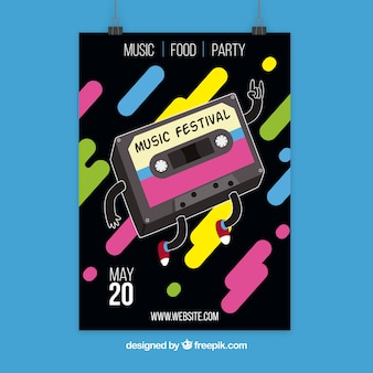 Music poster design with cassette