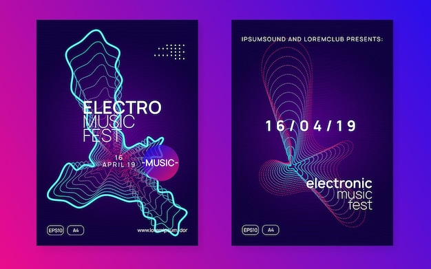 Music poster. dynamic fluid shape and line. creative show banner set. neon music poster. electro dance dj. electronic sound fest. club event flyer. techno trance party.