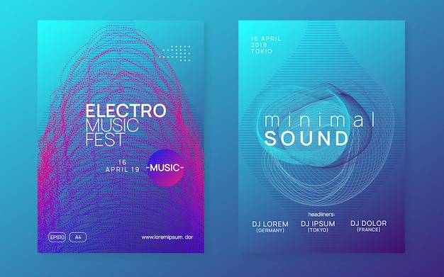 Music poster. dynamic fluid shape and line. creative show invitation set. neon music poster. electro dance dj. electronic sound fest. club event flyer. techno trance party.
