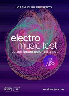 Музыкальный плакат. форма и линия динамического градиента. шаблон обложки творческой дискотеки. неоновый музыкальный плакат. электро танцевальный диджей. фестиваль электронного звука. флаер клубного мероприятия. техно-транс-вечеринка.