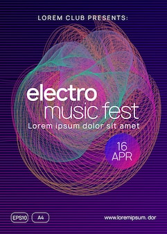 Music poster. dynamic gradient shape and line. creative discotheque cover template. neon music poster. electro dance dj. electronic sound fest. club event flyer. techno trance party.