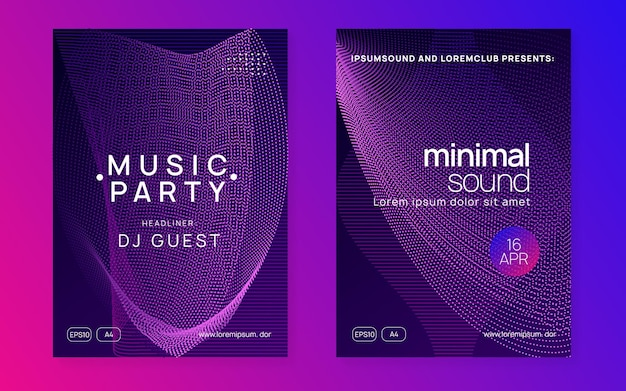 Music poster. dynamic gradient shape and line. geometric concert cover set. neon music poster. electro dance dj. electronic sound fest. club event flyer. techno trance party.