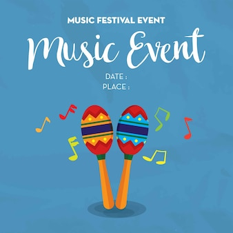 Music poster event for festival template with date and place space