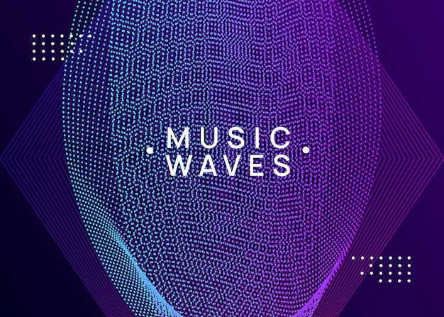 Music poster. geometric show brochure design. dynamic fluid shape and line. neon music poster. electro dance dj. electronic sound fest. club event flyer. techno trance party.
