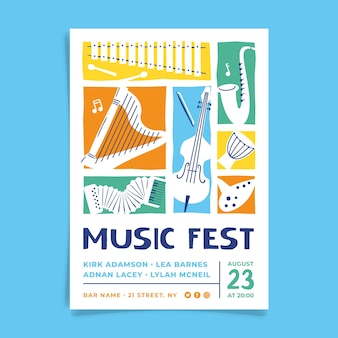 Music poster illustrated style