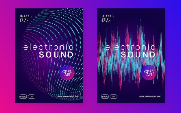 Music poster. modern discotheque invitation set. dynamic gradient shape and line. neon music poster. electro dance dj. electronic sound fest. club event flyer. techno trance party.