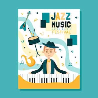 Music poster template illustrated concept