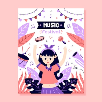 Music poster template illustrated design