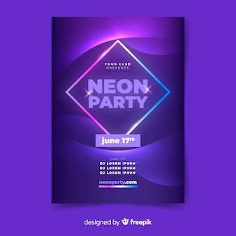 Music poster template in neon style
