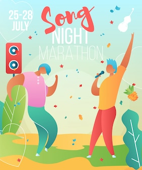 Music poster template with cartoon characters