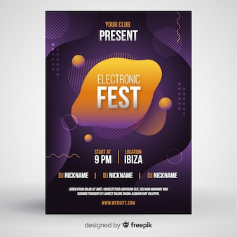 Music poster template with liquid effect