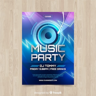 Music poster template with loudspeaker