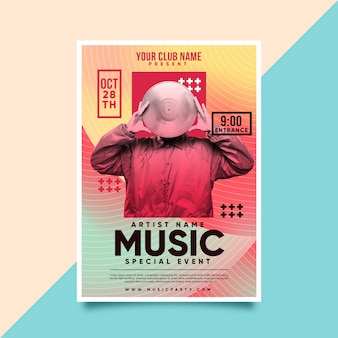 Music poster template with template