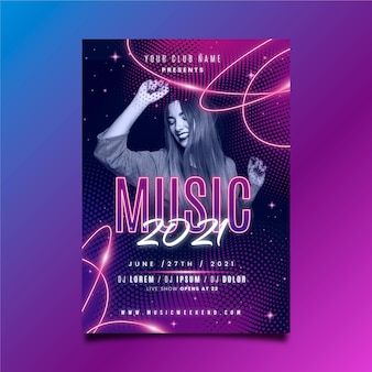 Music poster template with woman dancing