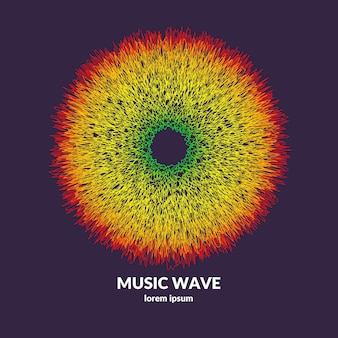 Music poster. vector abstract background with a colored dynamic waves. illustration suitable for design Premium Vector