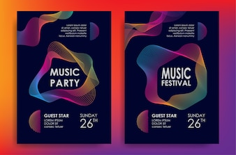 Music poster with colorful line waves element