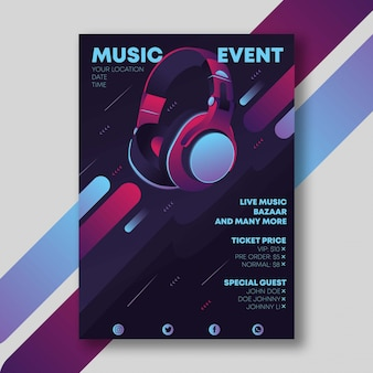 Music poster with earphone
