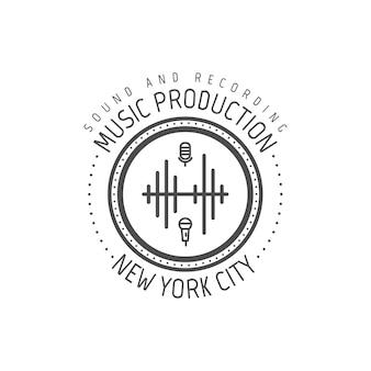音楽制作。ニューヨーク市のベクトルラベル、バッジ、楽器のエンブレムのロゴ。白い背景で隔離の株式ベクトルイラスト。