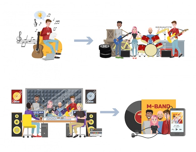 Music production stages. man write a song, start a band and record a music album in sound studio.