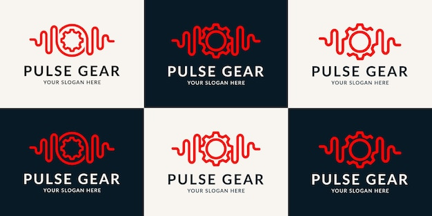 Music pulse gear inspiration logo for entertainment, wellness, therapy and repairing