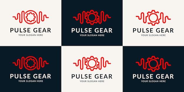 Логотип music pulse gear для развлечений, хорошего самочувствия, терапии и ремонта