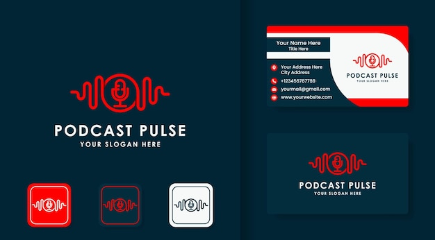 Music pulse podcast logo and business card design