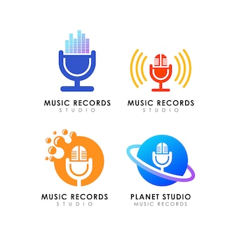 Music records studio logo design