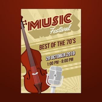 Music retro poster template
