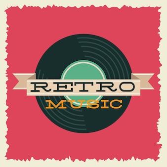 Музыка в стиле ретро с дизайном векторной иллюстрации винилового диска